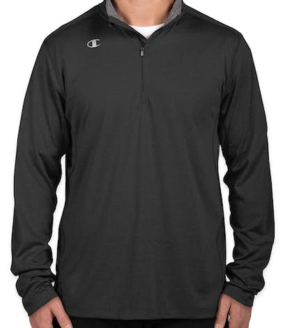 Champion Training Vapor Quarter Zip Performance Shirt - Black Heather