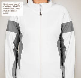 Team 365 Ladies Performance Warm-Up Jacket - Color: White / Sport Graphite