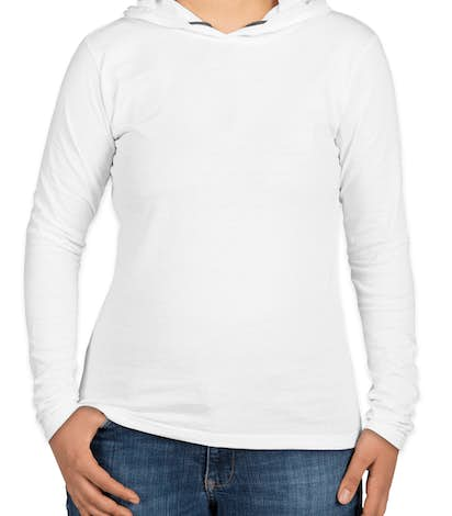 Anvil Ladies Hooded Long Sleeve T-shirt - White