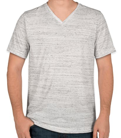 Canvas Melange Blend V-Neck T-shirt - White Marble
