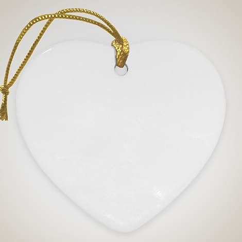 Full Color Heart Ceramic Ornament - White