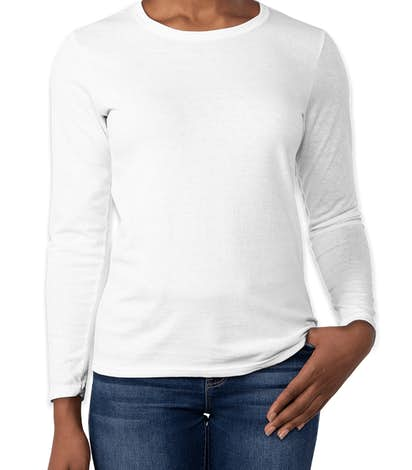 Custom gildan ladies 100 cotton long sleeve t shirt for Women s 100 cotton long sleeve tee shirts