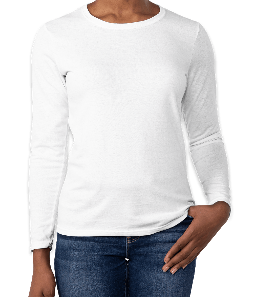 Custom Gildan Ladies 100% Cotton Long Sleeve T-shirt - Design Long ...