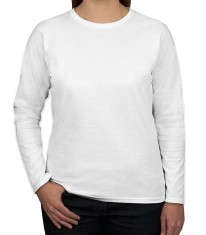 Canada - Gildan Ladies 100% Cotton Long Sleeve T-shirt - White