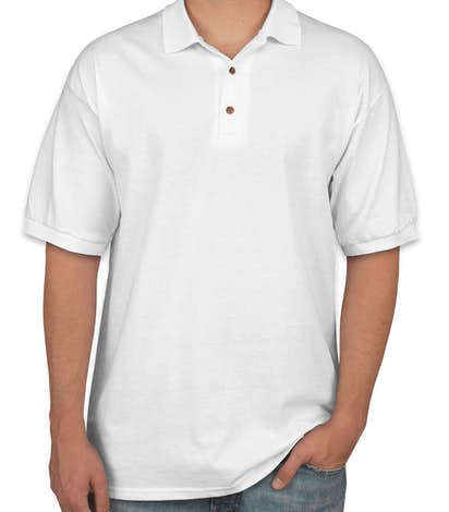 Design custom printed gildan ultra cotton polo shirts for White fitted polo shirts