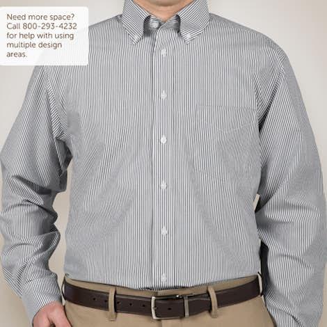 Devon & Jones Banker Stripe Dress Shirt - Navy