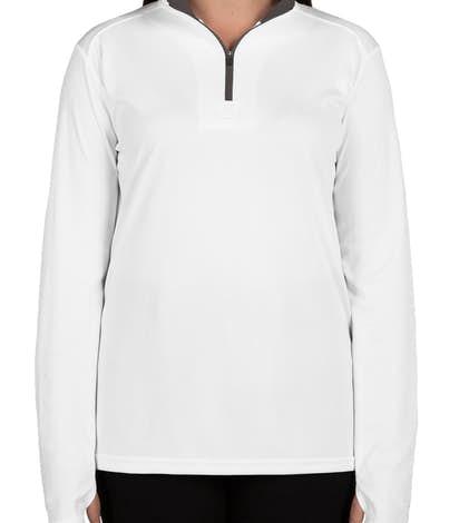 Badger Ladies Contrast Quarter Zip Performance Shirt - White / Graphite
