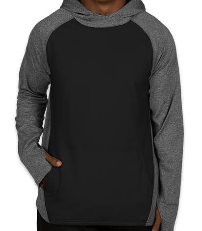 Augusta Colorblock Performance Pullover Hoodie - Graphite Heather / Black