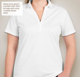 Port Authority Ladies Silk Touch Performance Polo - Screen Printed - Color: White