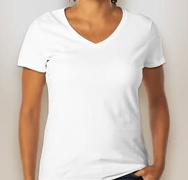 Hanes Ladies V-Neck Nano-T - Color: White