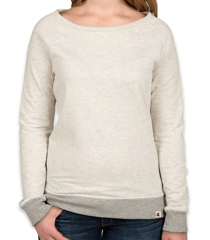 Champion Authentic Ladies French Terry Crewneck Sweatshirt - Oatmeal Heather / Oxford Grey