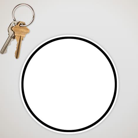5.5 in. Circle Car Magnet w/ contrast trim - White / Black
