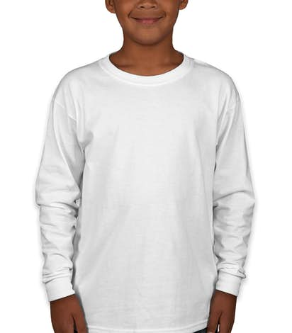 Canada - Gildan Youth Ultra Cotton Long Sleeve T-shirt - White