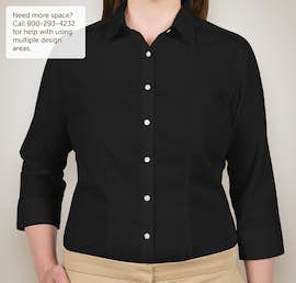 Van Heusen Ladies 3/4 Sleeve Baby Twill Dress Shirt - Color: Black