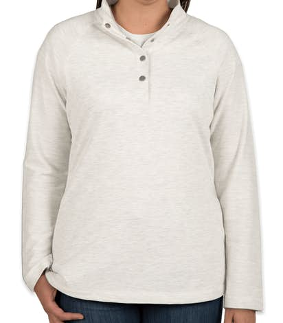 Charles River Ladies Snap Button Pullover With Pockets - Ivory Heather