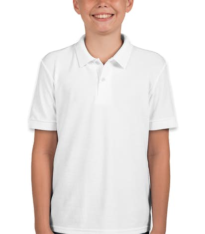 Gildan Youth Dryblend Double Pique Polo - White