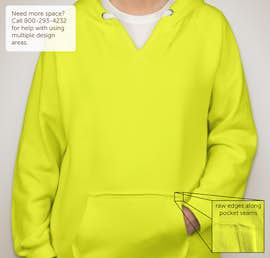 J. America Ladies Neon V-Neck Pullover Hoodie - Color: Neon Yellow