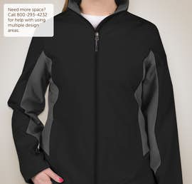 Port Authority Ladies Colorblock Soft Shell Jacket - Color: Black / Battleship Grey