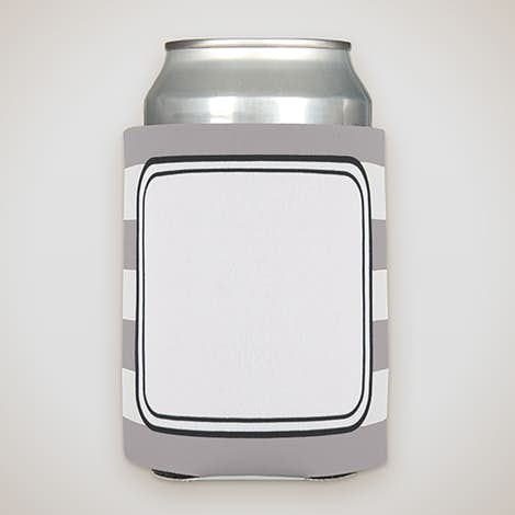 Stripe Foldable Can Cooler - Grey / White