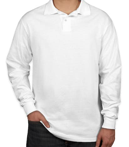 Jerzees Spotshield 50/50 Long Sleeve Jersey Polo - White