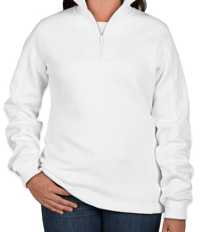 Sport-Tek Premium Ladies Quarter Zip Sweatshirt - White