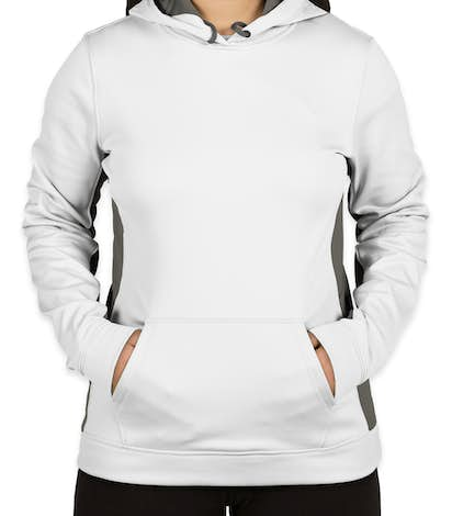 Sport-Tek Ladies Colorblock Performance Pullover Hoodie - White / Dark Smoke Grey