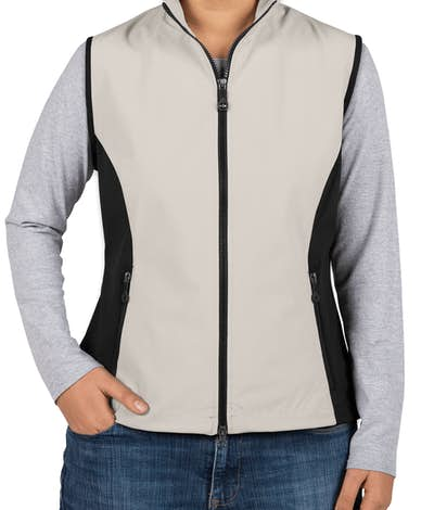 North End Ladies Soft Shell Vest - Natural Stone