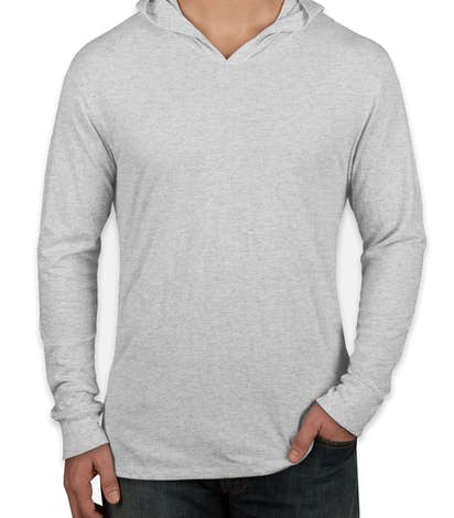 Custom next level tri blend hooded long sleeve t shirt for Tri blend custom t shirts