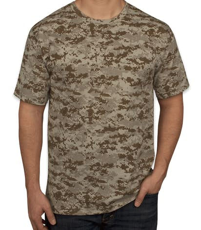Custom code 5 digital camo t shirt design short sleeve t for Camouflage t shirt design