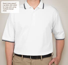 Devon & Jones Tipped Pima Interlock Polo - Color: White / Navy