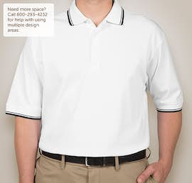 Canada - Devon & Jones Tipped Pima Interlock Polo - Color: White / Navy