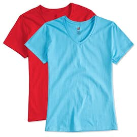 Hanes Ladies 100% Cotton V-Neck T-shirt
