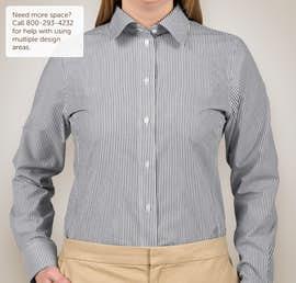 Devon & Jones Ladies Banker Stripe Dress Shirt - Color: Navy