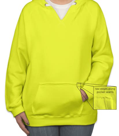 J. America Ladies Neon V-Neck Pullover Hoodie - Neon Yellow