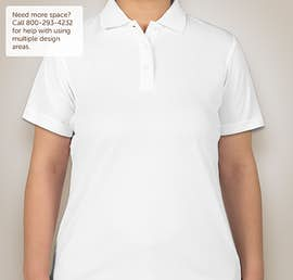 Ultra Club Ladies Mesh Pique Performance Polo - Color: White