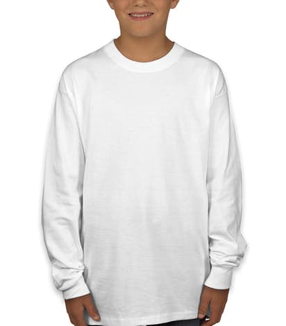 Hanes Youth ComfortSoft® Long Sleeve Tagless T-shirt - White