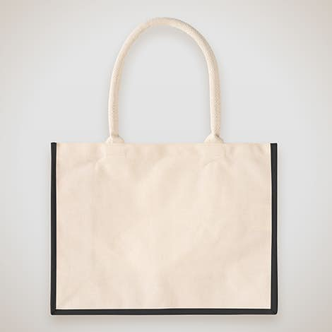 Cotton Landscape Shopper Tote - Natural / Black