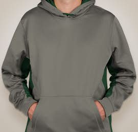 Sport-Tek Colorblock Performance Pullover Hoodie - Color: Dark Smoke Grey / Forest Green