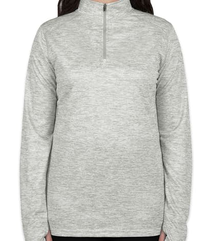 Badger Ladies Heather Quarter Zip Performance Shirt - Silver