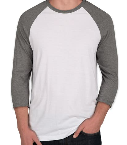 District Tri-Blend Baseball Raglan - Grey Frost / White