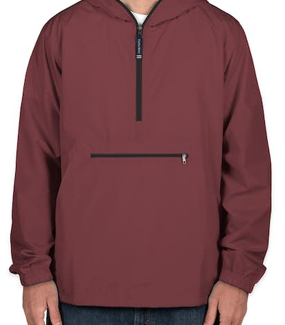 Charles River Pack-N-Go Hooded Packable Anorak - Maroon