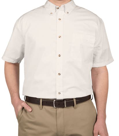 Featherlite Short Sleeve Stain Resistant Twill Shirt - Arctic White / Stone