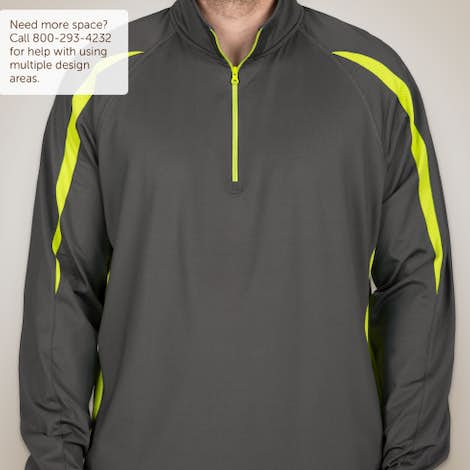 Sport-Tek Contrast Performance Half Zip Pullover - Charcoal Grey / Charge Green