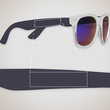 Sun Ray Mirrored Sunglasses - Navy Blue