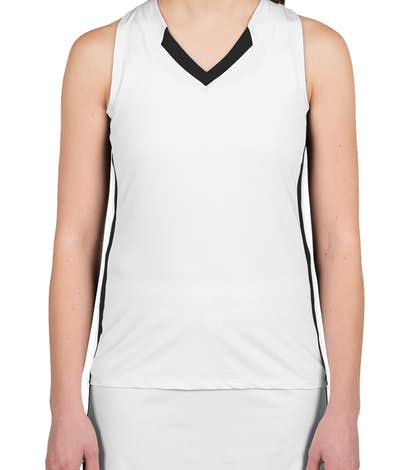 Teamwork Ladies Colorblock Racerback Lacrosse Jersey - White / Black