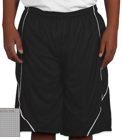 Sport-Tek Youth Micro-Mesh Reversible Contrast Shorts - Black / White