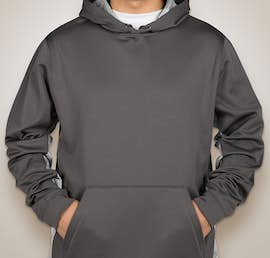 Sport-Tek CamoHex Colorblock Performance Pullover Hoodie - Color: Dark Smoke Grey / White