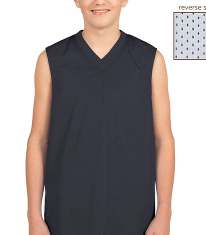 Teamwork Youth Fadeaway Reversible Mesh Basketball Jersey - Navy / White