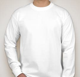 Bayside 100% Cotton USA Long Sleeve T-shirt - Color: White