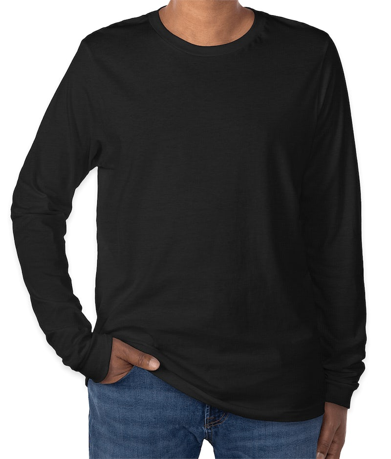 Custom canvas tri blend long sleeve t shirt design long for Tri blend custom t shirts